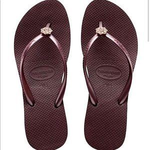 Havaianas Flip Flops Poem Grape Wine Wedges Sandal